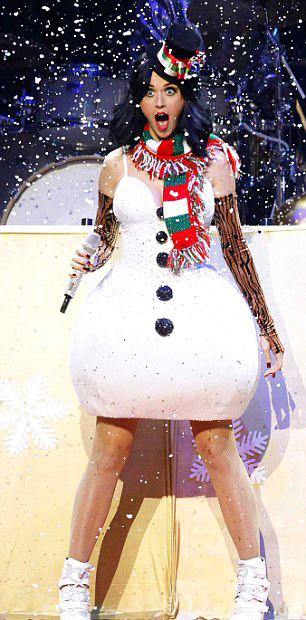 Katy Perry in Frosty Snowman Costume - Katy Perry Festive In Christmas Costumes Nova's Journal - Blog